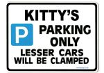 KITTY'S Personalised Parking Sign Gift | Unique Car Present for Her |  Size Large - Metal faced